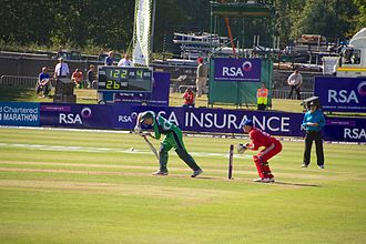 Ireland cricket team - Captain William Porterfield batting against England during Malahide Cricket Club Ground's inaugural ODI in 2013.