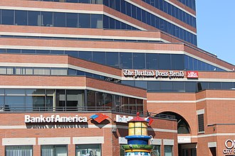 Portland Press Herald - The Portland Press-Herald (lower right) shares a unique building on Congress Street with Bank of America in downtown Portland, Maine.