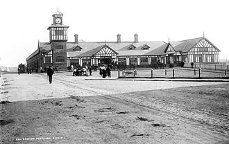 Portrush railway station - The station in the 1890s, with tramway in foreground