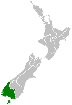 Southland Region within New Zealand