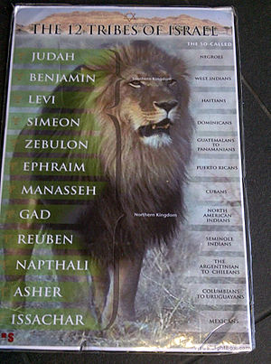 Israelite Church of God in Jesus Christ - Poster outlining the Black Hebrew Israelite identification of the Twelve Tribes of Israel with modern peoples of color