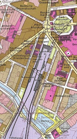 Berlin Potsdamer Bahnhof - Location of the main station and its Wannseebahn and Ringbahn appendices in 1910, shadowed with the situation of 1980–85