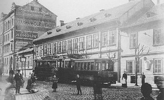 Trams in Prague - Tram with trailer in Prague in the early twentieth century