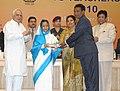 Pratibha Devisingh Patil presenting the National Award for Teacher-2010 to Shri Kamlesh Janardan Sankhe, Maharashtra, on the occasion of the 'Teacher's Day', in New Delhi. The Union Minister of Human Resource Development.jpg