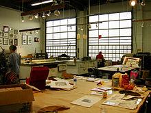 Un laboratorio di stampe artistiche, Pratt Fine Arts Center, Seattle.