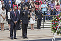 President Barack Obama, front left, and U.S. Army Maj. Gen. Michael S. Linnington, front right, the commanding general of the Military District of Washington, observe a moment of silence during the 145th annual 130527-D-HU462-175.jpg