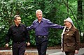 President Bill Clinton walks with Prime Minister Ehud Barak of Israel and Yasser Arafat of the Palestinian Authority.jpg