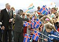President Dr. A.P.J. Abdul Kalam is being greeted by large number of children waving Indian and Iceland flags during the Ceremonial Reception at Bessastaoir in Reykjavik, Iceland on May 30, 2005.jpg