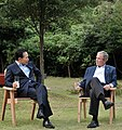 President Lee and former US president George W. Bush in Jeju Island (4344988301).jpg