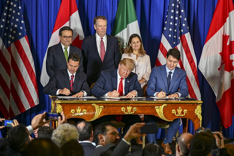 President Trump, Canadian President Trudeau, and Mexican President Enrique Peña Nieto sign the U.S.-Mexico-Canada trade agreement during a ceremony in Buenos Aires, on the margins of the G-20 Leaders' Summit on November 30, 2018. [State Department photo by Ron Przysucha / Public Domain]