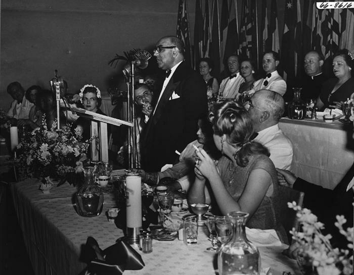 PrimeMinisterAliKhanSpeaksInNewOrleans1950