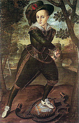 Robert Peake the Elder -  Prince Henry, c. 1610. His foot rests on a shield bearing the device of the Prince of Wales, a title conferred on him the same year.