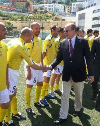 Vatican City national football team - Albert II, Prince of Monaco greeting team in June  2013