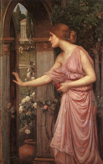 Walled garden - Psyche Opening the Door into Cupid's Garden, by John William Waterhouse