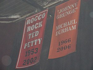 Johnny Grunge - Grunge's Hardcore Hall of Fame banner in the former ECW Arena.