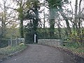 Public footpath leaves the road beyond the bridge - geograph.org.uk - 1595284.jpg