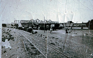 Central Chubut Railway - Railway bridge in Rawson, 1920s.