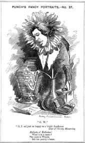 "A hand-drawn cartoon of Wilde, he face depicted in a wilted sunflower standing in a vase. His face is sad and inclined towards a letter on the floor. A larger china vase, inscribed ""Waste..."" is placed behind him, and an open cigarette case to his left."