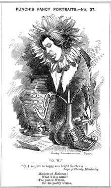 A hand-drawn cartoon of Wilde, he face depicted in a wilted sunflower standing in a vase. His face is sad and inclined towards a letter on the floor. A larger china vase, inscribed «Waste…» is placed behind him, and an open cigarette case to his left.