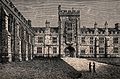 Queen's College, Oxford; quadrangle. Wood engraving. Wellcome V0014163.jpg