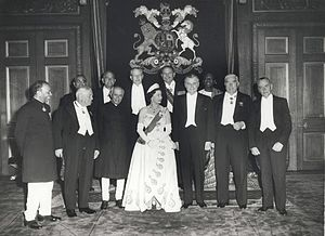 Ayub Khan (President of Pakistan) - Khan (back row, second from the right) with Elizabeth II, former Queen of Pakistan at the 1960 Commonwealth Prime Minister's Conference, Windsor Castle