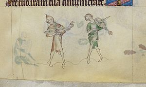 Rebec - Musicians with citole (left) and rebec or vielle, from the English Queen Mary Psalter, c. 1320.