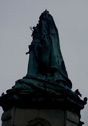 Queen Victoria Memorial, Lancaster - Silhouette of the memorial viewed from the East