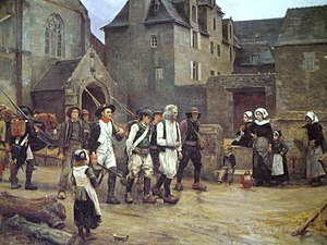 French Revolutionary Wars - While the First Coalition attacked the new Republic, France faced civil war and counter-revolutionary guerrilla war. Here, several insurgents of the Chouannerie have been taken prisoner.