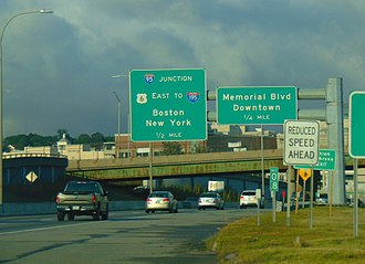 U.S. Route 6 in Rhode Island - The sign for the intersection of RI 10/US 6 and I-95 in downtown Providence