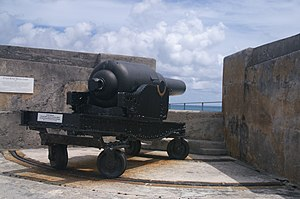 RML 10 inch 18 ton gun - One of the guns on top of Fort St Catherine, Bermuda