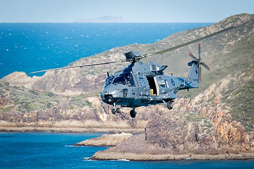 RNZAF NH90 flying over the Shoalwater Bay Training Area