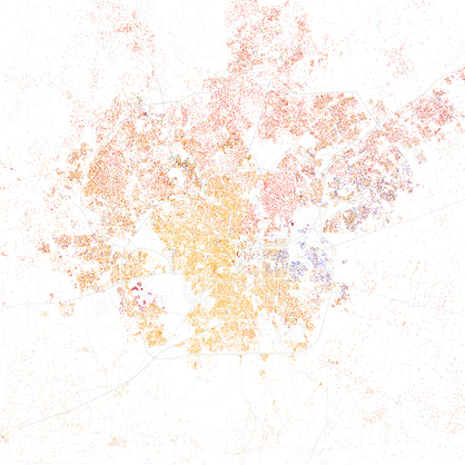 Map of racial distribution in San Antonio, 2010 U.S. Census. Each dot is 25 people: White, Black, Asian Hispanic of any race, or other (yellow) Race and ethnicity 2010- San Antonio (5559903509).png
