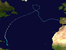 Track of a hurricane through the eastern Caribbean and western Atlantic