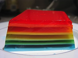 Gelatin dessert - A multi-coloured layered gelatin based dessert