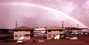 Waipahu, Hawaii - Rainbow over Waipahu. Farrington Hwy, 1958