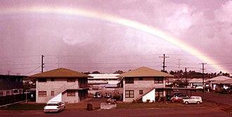 Waipahu, Hawaii - Rainbow over Waipahu. Farrington Hwy, 1958