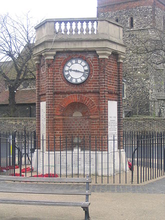 Rainham, London - The clocktower is a World War I memorial and forms a focus of the town