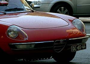 Red Alfa Romeo Spider in Lisbon