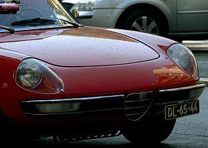 Red Alfa Romeo Spider in Lisbon