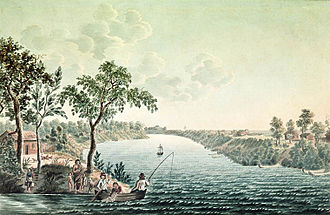Red River Colony - Homes on narrow river lots along the Red River in 1822 by Peter Rindisbacher with Fort Douglas in the background