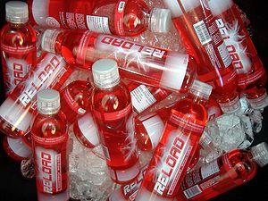 Some Reload -energy drink bottles.