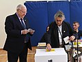 Reuven Rivlin and his wife voting on the municipal elections in Israel, Jerusalem, October 2018 (8679).jpg