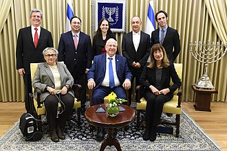 Leonard Blavatnik - Blavatnik and Israeli President Reuven Rivlin with young scientists who have been awarded the Blavatnik Awards for Young Scientists, February 2018