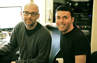 Richard Barone - Richard Barone (right) with Moby in the studio mixing the Bongos in 2006. Photo by Brian T. Silak.