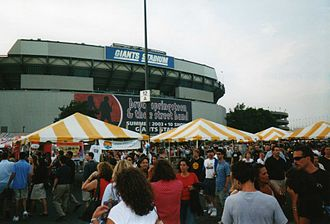 Bruce Springsteen - The scene outside the Giants Stadium parking lot for banner-marked, record-setting, 10-night stand of The Rising Tour during July 2003.