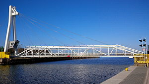Ustka - Pedestrian swing bridge in Ustka