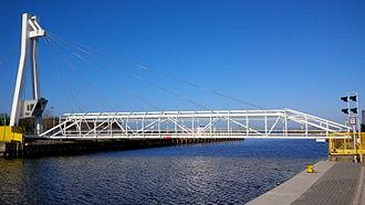 Ustka - Pedestrian swing bridge in Ustka