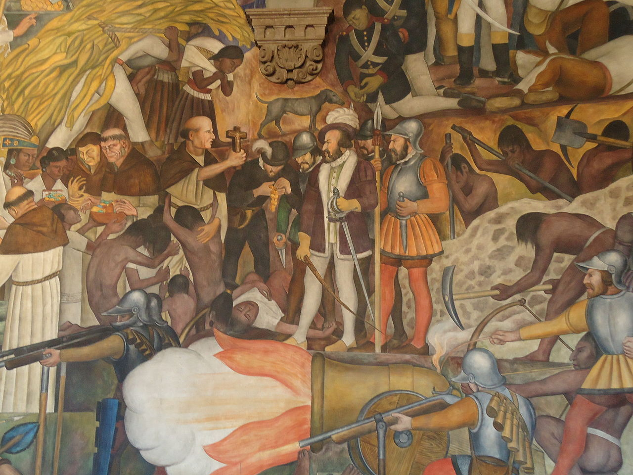 File rivera mural palacio nacional mexico from conquer to for Arte mural en mexico