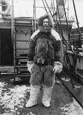 Photograph of Peary dressed in furs to survive winter