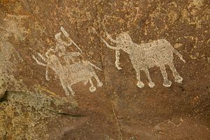 Madhya Pradesh - Mesolithic rock painting, Bhimbetka, a UNESCO World Heritage Site